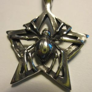 Jewelry - Spider Pentagram Pendant Lead Free Pewter Wiccan